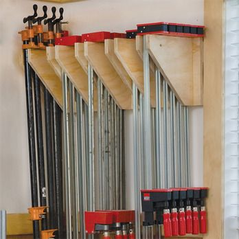 Wall-Mounted Clamp Rack Woodworking Plan by Woodcraft Magazine...