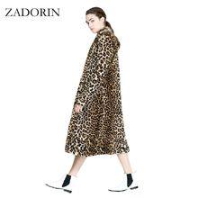 Europe Fashion Women X-Long Faux Fur Leopard Coat Women Faux Fur Jacket Gilet Pelliccia Women Fur Coats veste fourrure S-3XL(China)