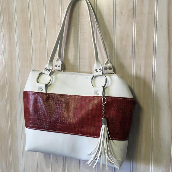Red and White Handbag - Vintage Inspired Handbag - Tassel Bag - Faux Leather Purse - Canada Day - Classy Purse - Canada 150 - Vintage Canada
