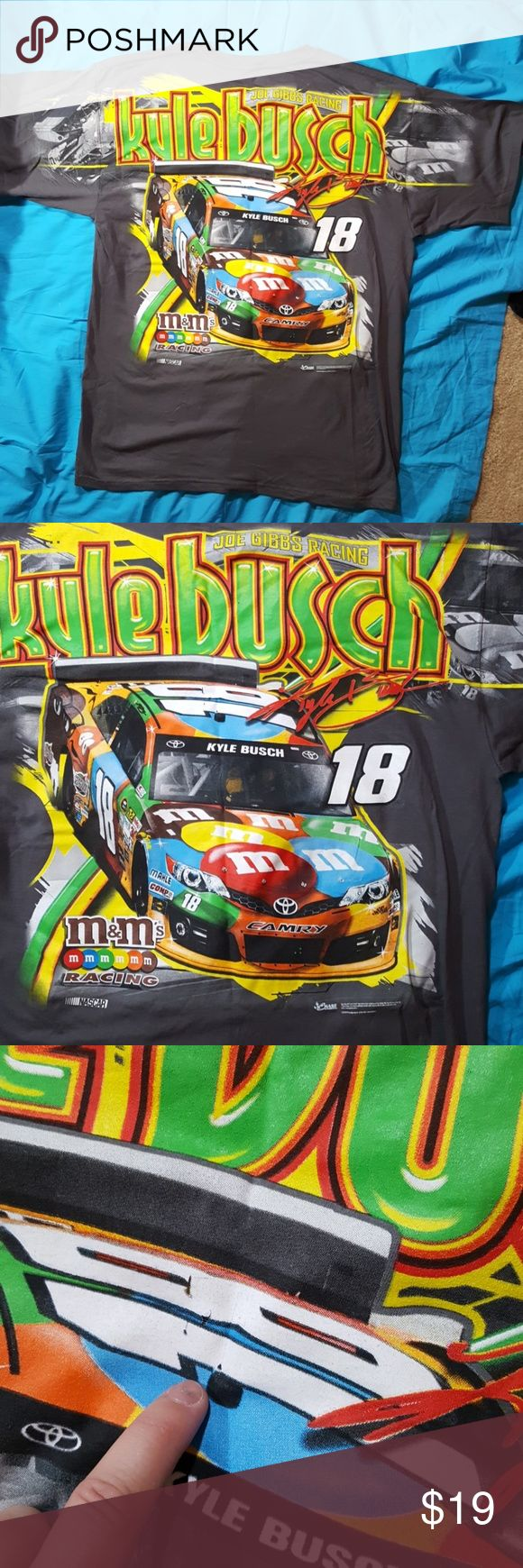 Xl kyle busch joe gibbs racing NASCAR M&M t-shirt Grey men's extra large shirt the brand is Chase Authentics the official Trackside apparel of NASCAR. It's a hundred percent cotton to minor imperfections indicated in photos otherwise new without technician excellent graphic clean and crisp fabric. nascar Shirts Tees - Short Sleeve