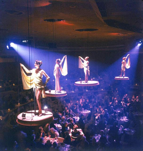 vintage everyday: Dancers hover above guests at the Paris Lido show in the Stardust Hotel, Las Vegas, Nevada, 1958