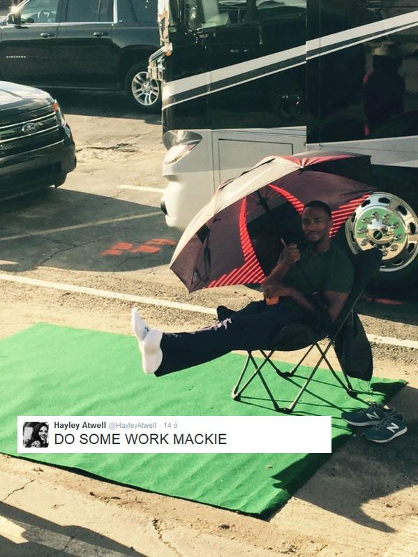 "Lol // Anthony Mackie on set of ""Captain America: Civil War"" in Atlanta."