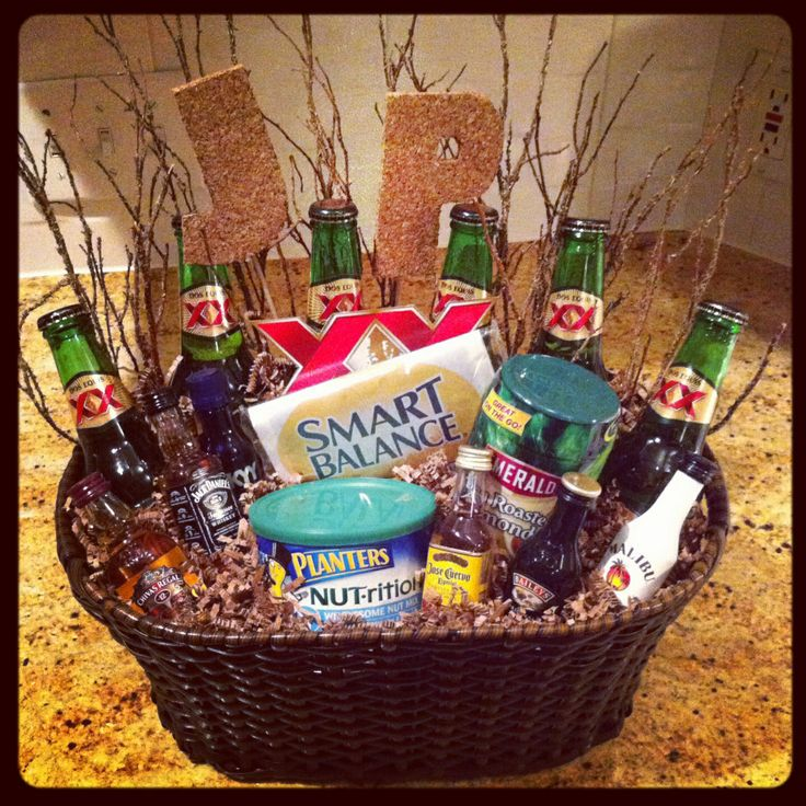 Male Birthday Gift Basket!   Super easy to make! Basket and paper stuffing from Hobby Lobby!   MadeBy: Kristina Maldonado