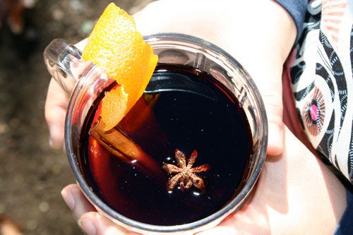 Gluhwein  At home: empty a teabag and put in anise, black peppercorns, coriander, cardemom, cinnamon stickd, cinnamon. Close with twine.  At camp:Peel off long strips of orange zest from 2 oranges. In pan press 1/4c sugar into skin to help release taste. Juice oranges. Add to pan, plus 1bottle of red wine and teabag of spices. Bring to simmer, stand 30 min. Heat again, add OBS, cognac/brandy/liquer. Serve