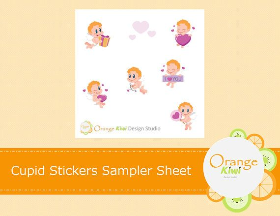 Cupid Stickers Sampler Stickers Valentine's Day Stickers