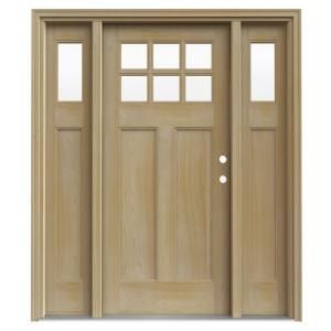 6 Lite Craftsman Unfinished AuraLast Pine Solid Wood Entry Door with Two 14 in. Sidelites and Unfinished Jamb-THDJW185200014 at The Home Depot