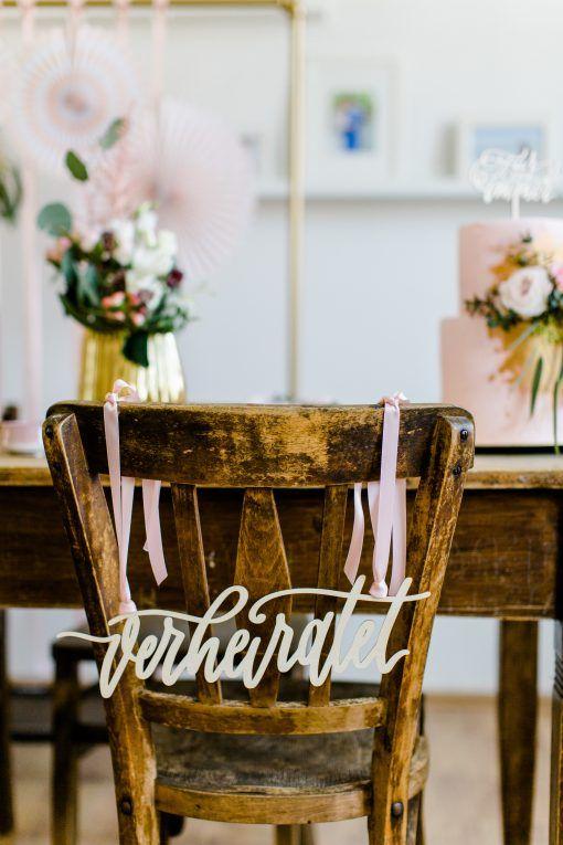 Frisch Verheiratet Stuhlschild Und Stuhlgirlande Holz Fur