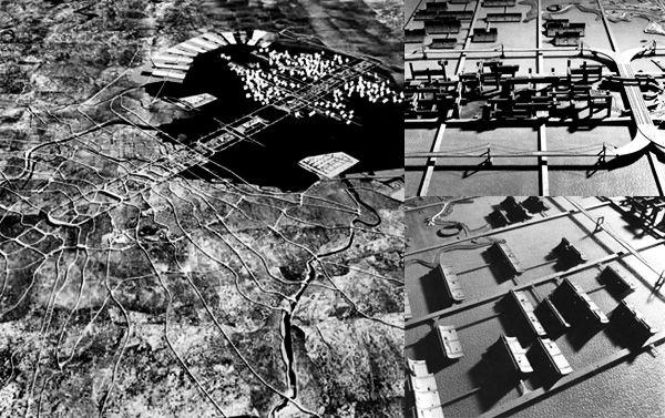 Plan for Tokyo, par Tange (1960). Mega-axe traversant la baie et reliant le centre de Tôkyô à Chiba. Sert de colonne vertébrale au déploiement d'une véritable ville sur l'eau.