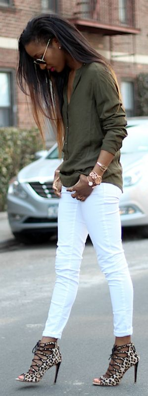 The great thing about white skinny jeans is that they go with most heels. Also, they really are a style stable for Spring, and you can basically pair them with anything. Via Style Nina in white skinny jeans and leopard  Jeans: H&M, Heels: Zara