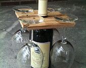 Items similar to Party of Four hardwood rack for wine bottle and four glasses. Salvaged sassafrass, 1.99 shipping within U.S. Great host gift. on Etsy, a global handmade and vintage marketplace.