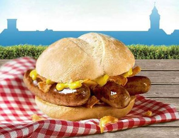 """""""Das Nürnburger"""" - a triple bratwurst sandwich available at McDonald's in Germany. They really should sell these in Chicago; they'd be a huge hit."""