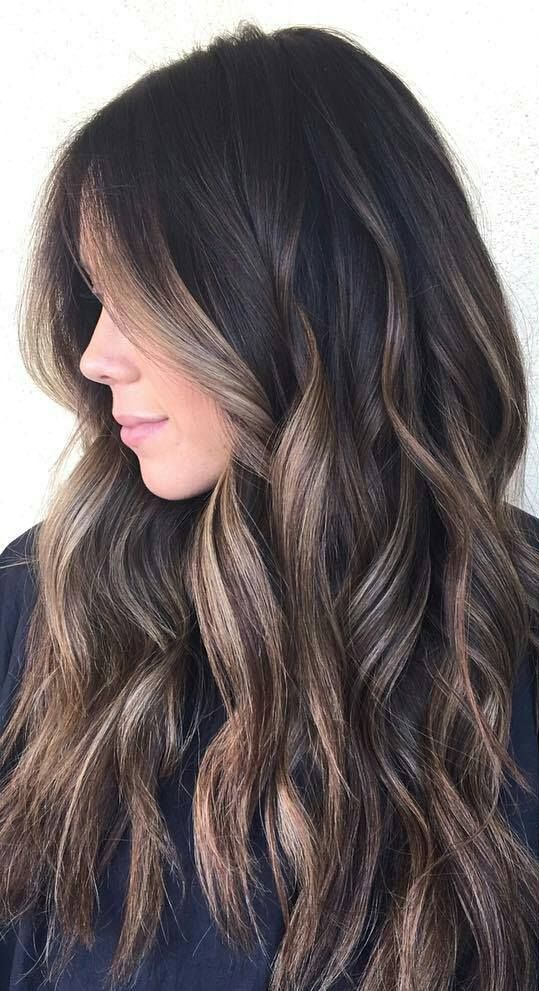 Dark Brown Hair With Caramel Balayage , Hairstyle Haircut Today
