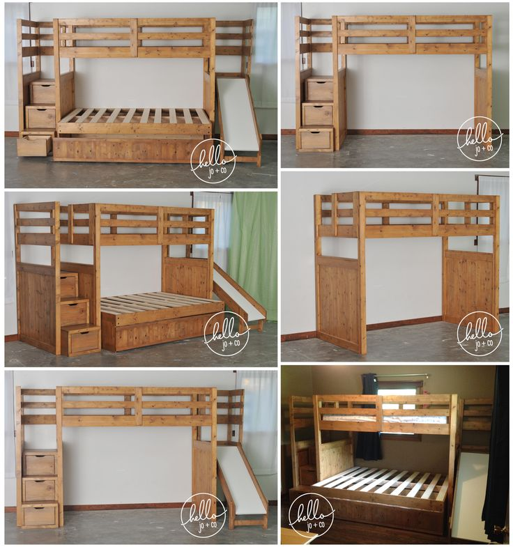 www.hellojoandco.com Solid wood Twin over full over twin trundle with slide & dresser stairs. Check out more of our work & rave reviews www.facebook.com/CuteStuffbyJO kid's room, loft bed, triple bed, storage bed, shared bedroom, kids' room, shared room, boy's bed, girl's bed, kids' room, twin over full, triple bunk bed, loft bed, loft bed with slide, loft bed with stairs, solid wood furniture, solid wood bed