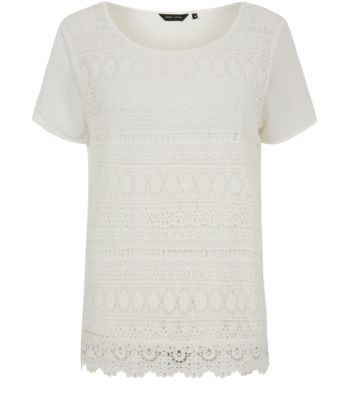 Cream Lace Contrast Sleeve T-Shirt