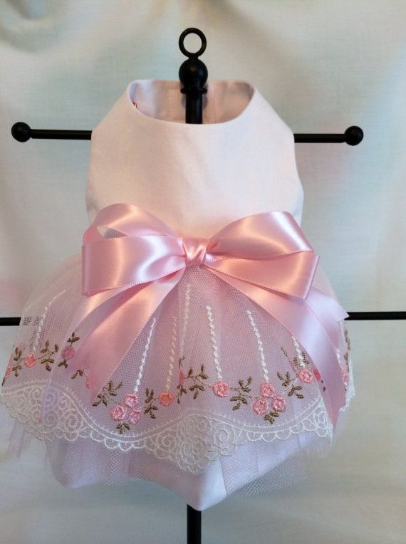 Pink Embroidered Rose Bud Tulle Dress for by princessamee on Etsy, $50.00