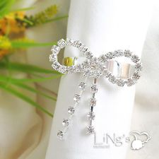 20pc Diamond Crystal Clear Bow Napkin Ring Wedding Party Favour Table Decoration