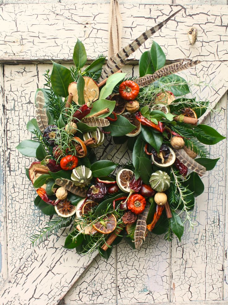 Culinary christmas door wreath.