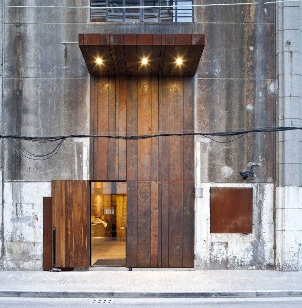 Corten Door And Wall With Layers/strips For Detail And Interest