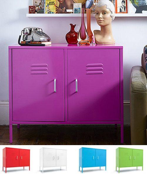 Retro Locker Cabinet - Purple, Red, White, Blue, Green - Hallway Storage