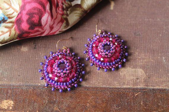 Paars Fuchsia kralen oorbellen parel borduurwerk oorbellen