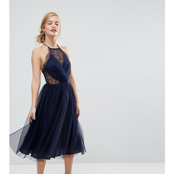 ASOS PETITE Lace Panelled Tulle Mesh Midi Dress ($32) ❤ liked on Polyvore featuring dresses, navy, petite, short dresses, petite cocktail dress, navy blue short dress, short petite dresses and navy blue dress