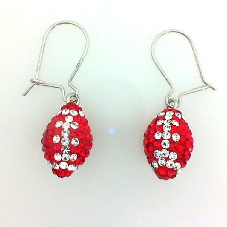 Badger pride! Red and white crystal football earrings from Mark Jewellers
