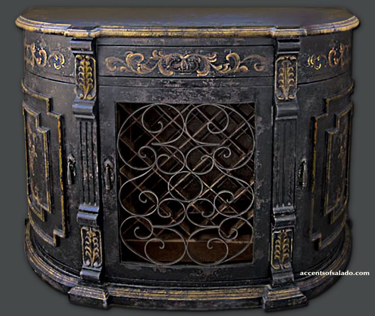 Our old world hand painted Daphne Wine Buffet is finished in colors and textures ideal for old world interiors.  @ Accents of Salado.. your source for unique wine cabinets.