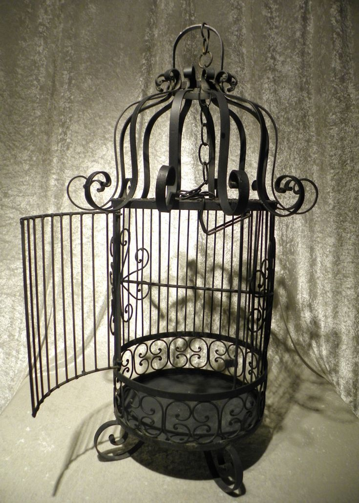 Vintage Bird Cage | Large Vintage Black Wrought Iron Bird Cage By  DownInTheBasement