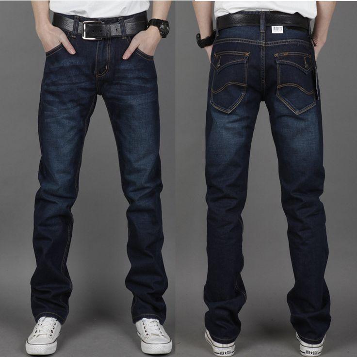 Top Quality Men's Designer Jeans Famous Brand 2013 New Fashion Dark Blue Jeans Pants Zipper Straight Cotton Denim Trousers Man $33.56