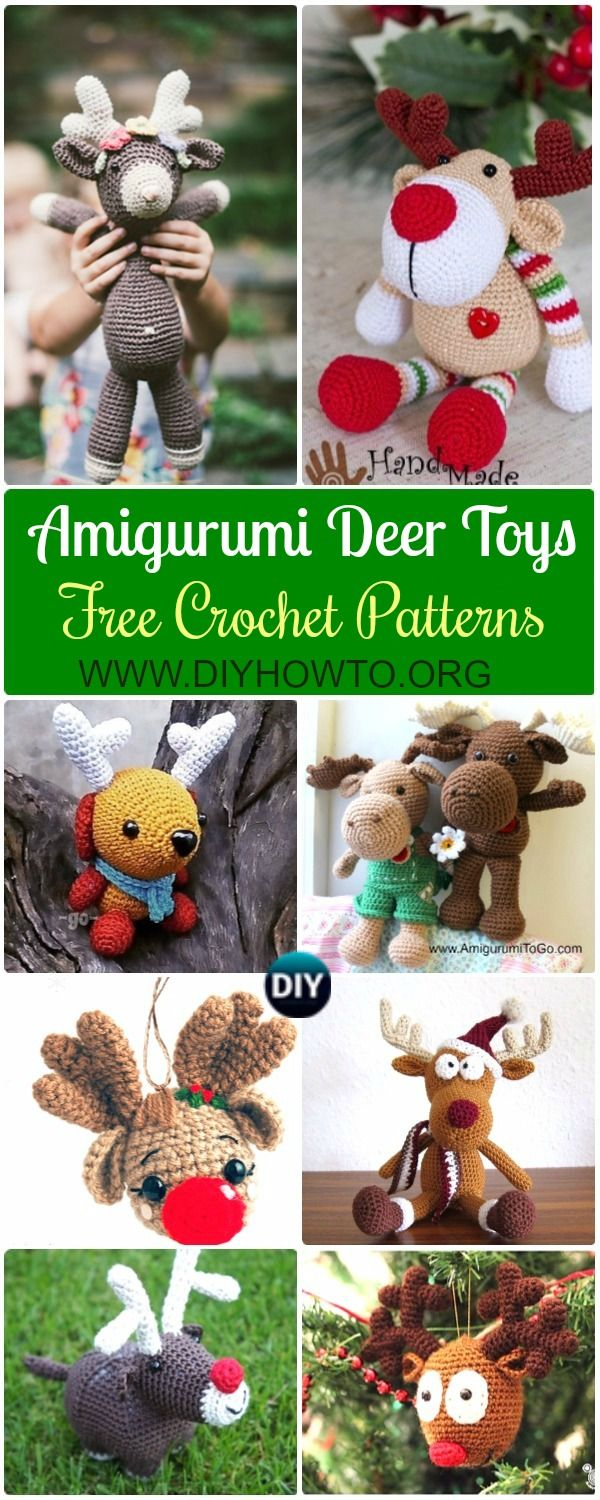 Collection of Crochet Amigurumi Reindeer Toy Softies Free Patterns +Tutorials, Rudolph Reindeer, Reindeer Christmas Ornament, Near Year Reindeer Amiguruni Toys Kids via @diyhowto