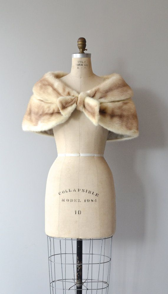 Minky Bow stole 1950s fur cape vintage 50s mink by DearGolden