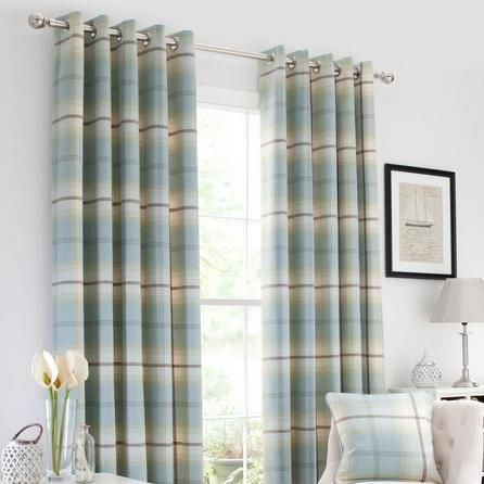 Duck Egg Highland Check Lined Eyelet Curtains   Dunelm
