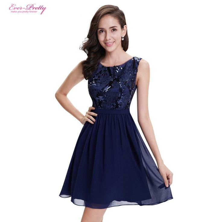 Ever Pretty Cocktail Dresses AP05330NB Navy Blue Simple Fashion Round Neck Short Vestidos Cocktail Dress Knee Length Party Dress  #cute #beauty #style #instastyle #dress #styles #ootd #swag #instalike #cool
