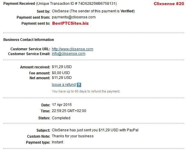 Clixsense Payment No 20  http://bestptcsites.biz/