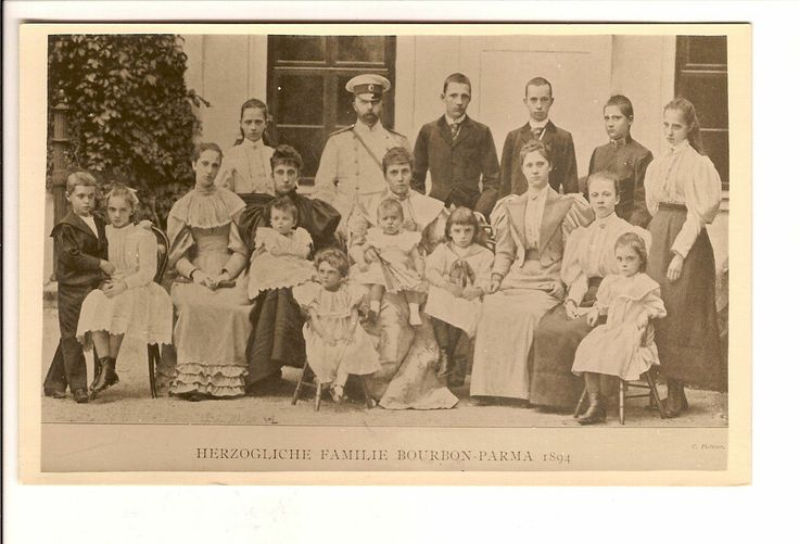King Robert of Bourbon Parma with his second wife and some of his twenty four children.