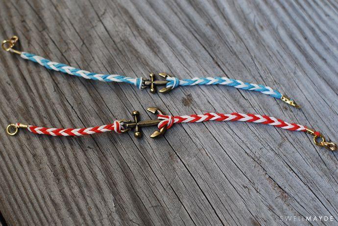 swellmayde: DIY   Fishtail Braided Anchor Bracelet
