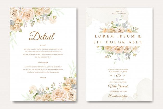 Beautiful Wedding Invitation Card Template With White And Yellow Roses Beautiful Wedding Invitations Wedding Invitation Card Template Wedding Invitation Cards
