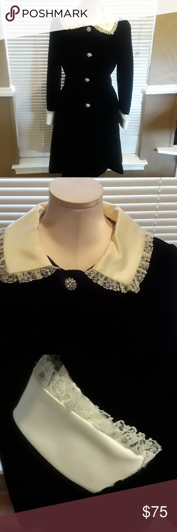 STUNNING Vintage Neimans Marcus Black Velvet Dress Black Velvet with Heavy Satin Peter Pan Collar & Cuffs...Dress may at one time been long and altered...size tag is missing...appears to be Sz  4 Neiman Marcus Dresses