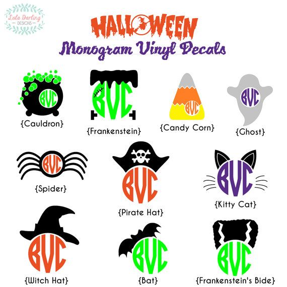 Monogram Halloween Vinyl Decal by LolaDarlingDesigns on Etsy