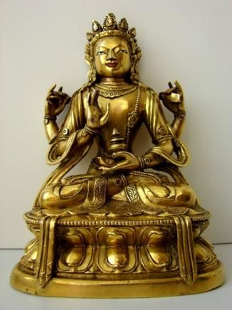 Gilt Bronze figure of Shadakshari Lokeshvara 17-18 century