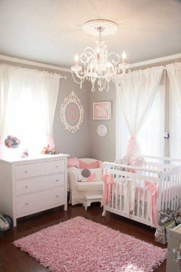 wandfarbe hellgrau gardinen rosa babyzimmer mädchenzimmer farbgestaltung rosa hellgrau