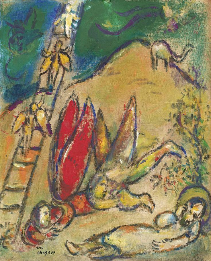 Marc Chagall 1887 - 1985 L'ECHELLE DE JACOB porte le cachet marc chagall (en bas à gauche) huile sur toile marouflée sur panneau 39,1 x 34 cm ; 15 3/8 x 13 3/8 in. Peint vers 1966.