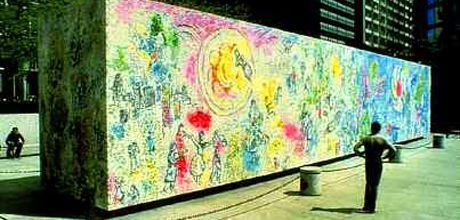 """Four Seasons"" by Marc Chagall, 1974 (mosaic, 70ft long, 14ft high, 10ft wide box); 10 South Dearborn Street in Chase Plaza."