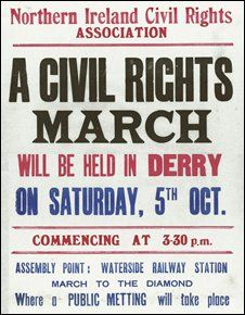 October 5, 1968  - A poster advertising the civil rights march in Derry which is often regarded as marking the start of the Troubles.  The peaceful march  to protest the allocation of houses, jobs, and restrictions on the right to vote ended in violence when the RUC turned a water cannon on, and then batoned the marchers. Pic courtesy Museum of Free Derry