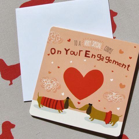 Dachshund Sausage Dog Cards Engagement congratulations