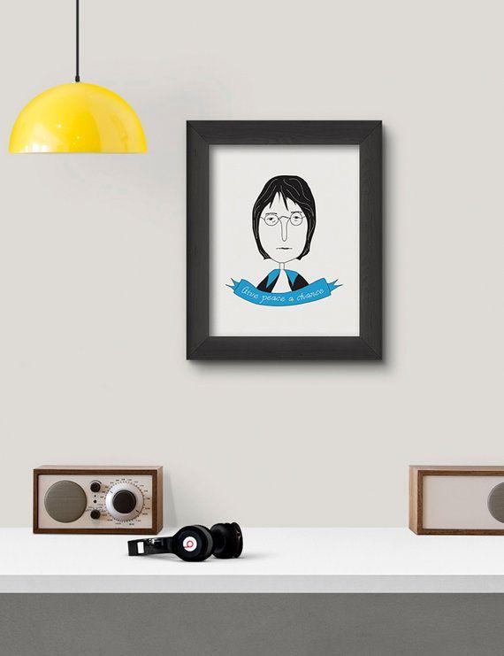 John Lennon Poster Print Art Illustration Design by RooftopCo