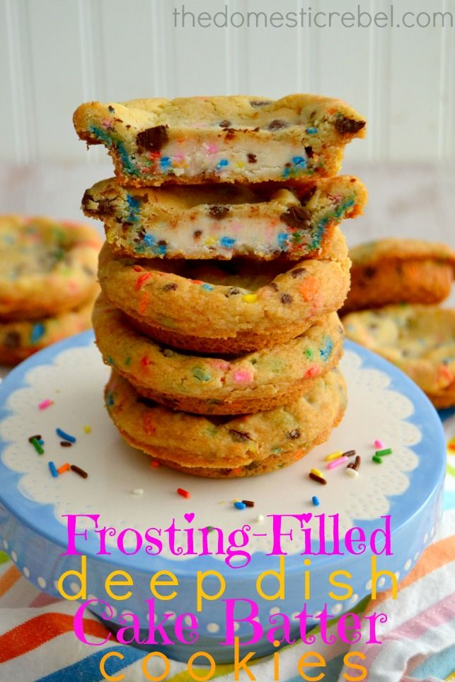 Frosting Filled Deep Dish Cake Batter Cookies {And a Surprise Bridal Shower for Sally!}