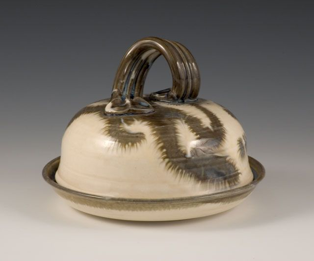 GARLIC ROASTER CONTEMPORARY BUTTER DISH HANDCRAFTED STONEWARE HANDMADE CERAMICS by GAULEY RIVER POTTERY near FAYETTE CO WV