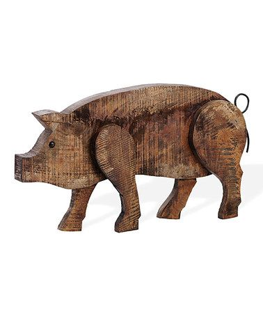 Barnwood Large Pig Figurine by Foreside #zulily #zulilyfinds