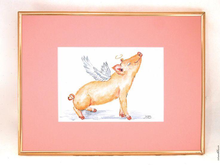 Angel varken afbeelding grote vliegende varken foto ingelijst, kwekerij, vleugel varken aquarel, kunst, decoratie kinderkamer, Gelukssymbolen door wandklex op Etsy https://www.etsy.com/nl/listing/499124778/angel-varken-afbeelding-grote-vliegende